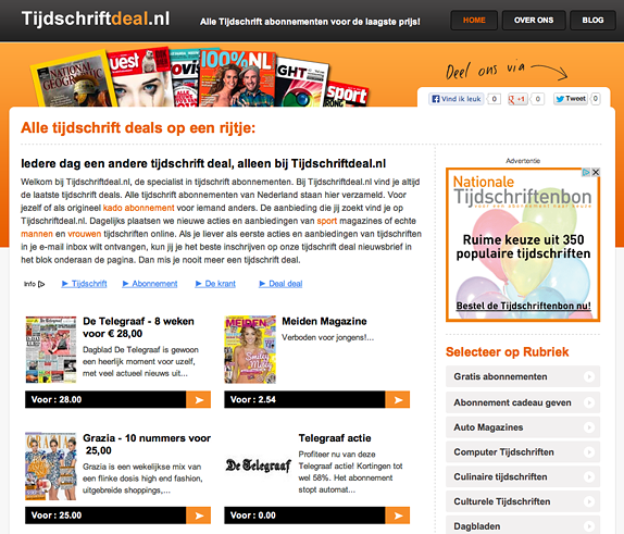 WordPress website inclusief Daisycon affiliate plugin - Nicetoclick